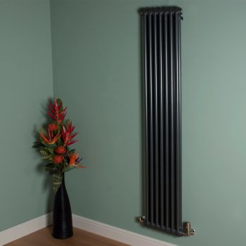 Old Style Tall Thin Gunmetal Grey 2 Column Radiator 1800mm high x 339mm wide
