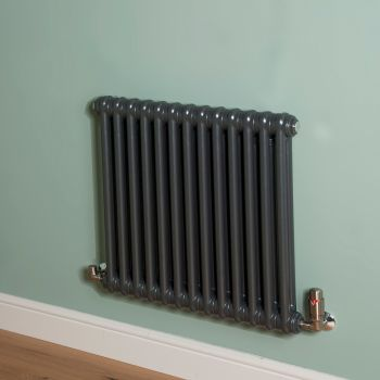 Old Style Gunmetal Grey 2 Column Radiator 600mm high x 609mm wide