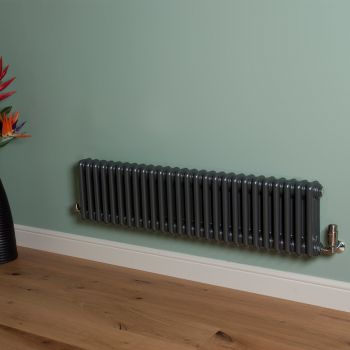 Old Style Low Level Gunmetal Grey 3 Column Radiator 300mm high x 1194mm wide