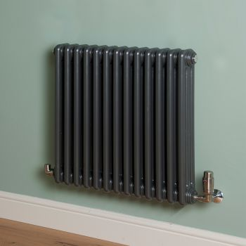 Old Style Gunmetal Grey 3 Column Radiator 600mm high x 609mm wide