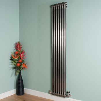 Old Style Tall Thin Raw Lacquered 2 Column Radiator 1800mm high x 339mm wide
