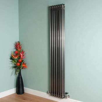 Old Style Tall Thin Raw Lacquered 3 Column Radiator 1800mm high x 339mm wide