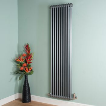 Old Style Tall Slim Mid Grey 2 Column Radiator 1800mm high x 474mm wide
