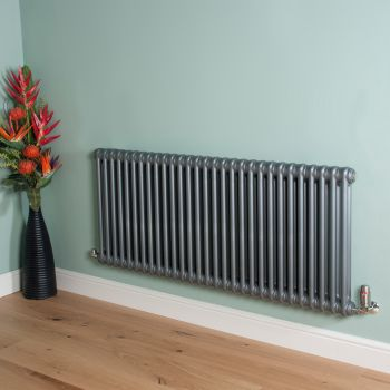 Old Style Mid Grey 2 Column Radiator 600mm high x 1329mm wide