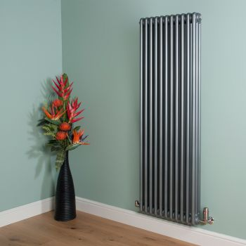 Old Style 7000 BTU Mid Grey 3 Column Radiator 1500mm high x 519mm wide