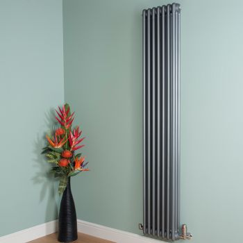 Old Style Tall Thin Mid Grey 3 Column Radiator 1800mm high x 339mm wide