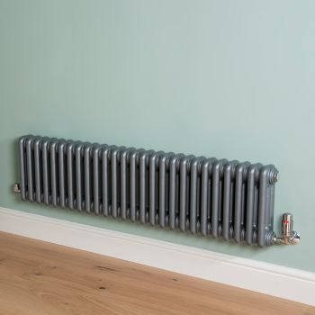 Old Style Low Level Mid Grey 3 Column Radiator 300mm high x 1194mm wide