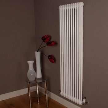 Old Style Gloss White 2 Column Radiator 1500mm high x 519mm wide