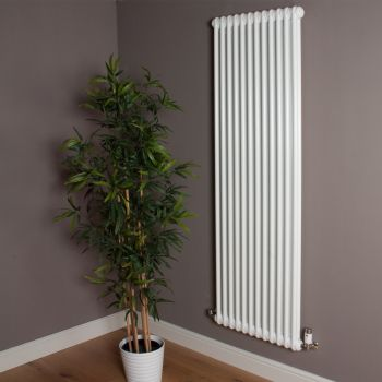 Old Style High Output Gloss White 2 Column Radiator 1800mm high x 564mm wide