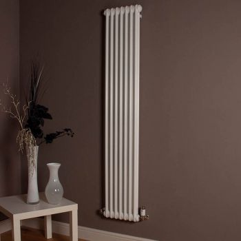 Old Style Tall Thin Gloss White 2 Column Radiator 1800mm high x 339mm wide