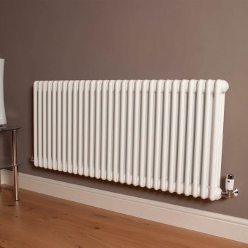 Old Style High Output Gloss White 3 Column Radiator 600mm high x 1329mm wide