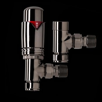 Black Nickel Designer Angled Thermostatic Radiator Valves - TRV & Lockshield Set