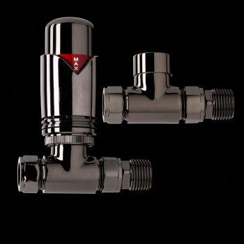 Black Nickel Designer Straight Thermostatic Radiator Valves - TRV & Lockshield Set