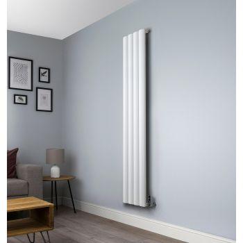 Aero White Vertical Tall Skinny Designer Radiator - 1800mm high x 375mm wide