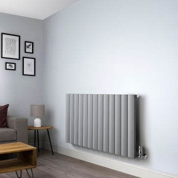 Aero Mid Grey Horizontal Designer Radiator - 600mm high x 1230mm wide