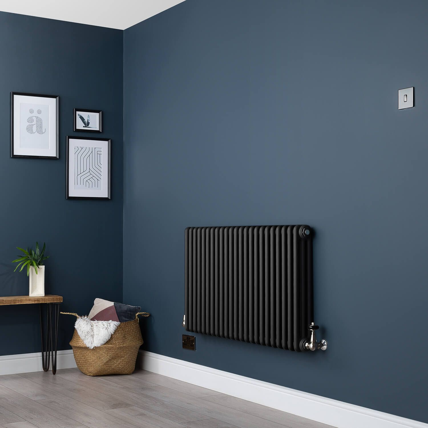 Old Style Three Column Smooth Matt Black Traditional Radiator 600mm High X 1059mm Wide