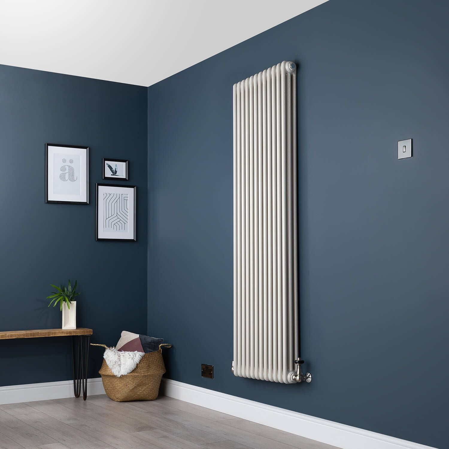 Old Style Vertical Three Column White Hammered Gold Traditional Radiator 1800mm High X 564mm Wide