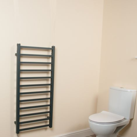 Cube Anthracite Square Bars Ladder Electric Towel Rail - 1000mm high x 500mm wide