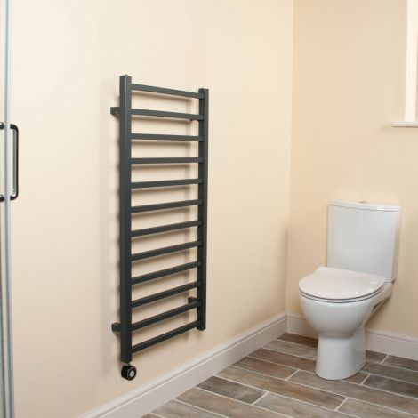 Cube Anthracite Square Bars Ladder Thermostatic Electric Towel Rail - 1000mm high x 500mm wide