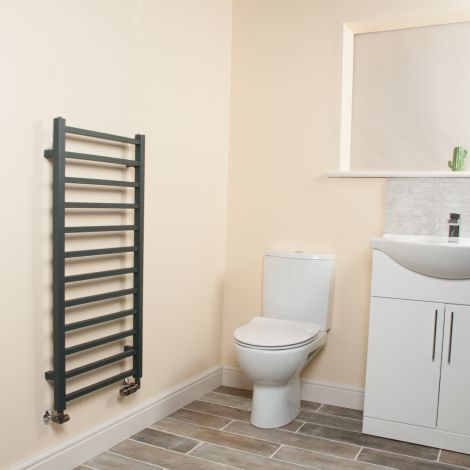 Cube Anthracite Square Bars Ladder Heated Towel Rail - 1000mm high x 500mm wide,Small Image,Thumbnail Image,Small Image,Thumbnail Image,Small Image