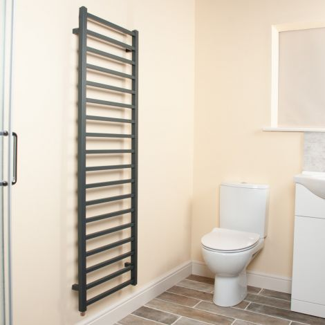 Cube Anthracite Square Bars Ladder Tall Electric Towel Rail - 1500mm high x 500mm wide