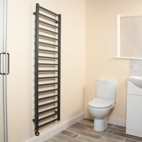 Cube Anthracite Square Bars Tall Ladder Thermostatic Electric Towel Rail - 1500mm high x 500mm wide