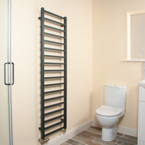 Cube Anthracite Square Bars Tall Ladder Heated Towel Rail - 1500mm high x 500mm wide
