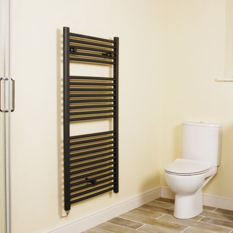 Anthracite Straight Ladder Electric Towel Rail 1200mm high x 600mm wide