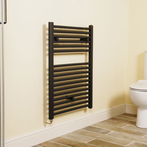 Anthracite Straight Ladder Short Electric Towel Rail 800mm high x 600mm wide