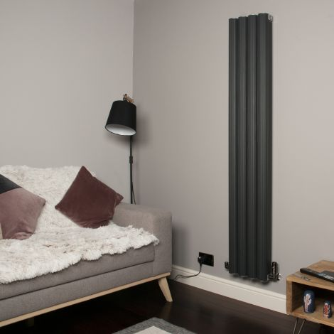 Venn Anthracite Vertical Tall Skinny Designer Radiator - 1750mm high x 320mm wide