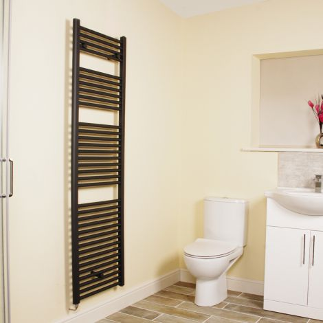 Anthracite Straight Ladder Tall Electric Towel Rail 1700mm high x 500mm wide