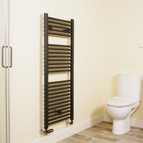 Anthracite Straight Ladder Heated Towel Rail 1200mm high x 500mm wide