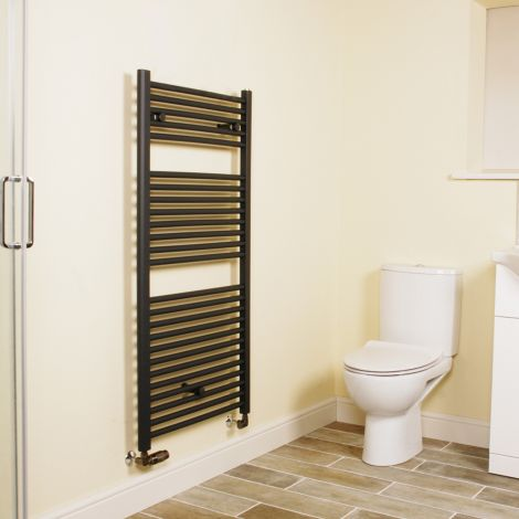 Anthracite Straight Ladder Heated Towel Rail 1200mm high x 600mm wide