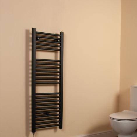 Anthracite Straight Ladder Space Saving Slim Electric Towel Rail 1100mm high x 400mm wide