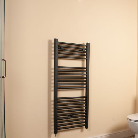Anthracite Straight Ladder Space Saving Electric Towel Rail 1100mm high x 500mm wide