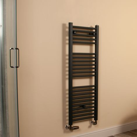 Anthracite Straight Ladder Space Saving Slim Heated Towel Rail 1100mm high x 400mm wide