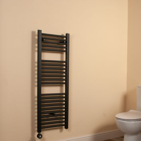Anthracite Straight Ladder Space Saving Slim Thermostatic Electric Towel Rail 1100mm high x 400mm wide