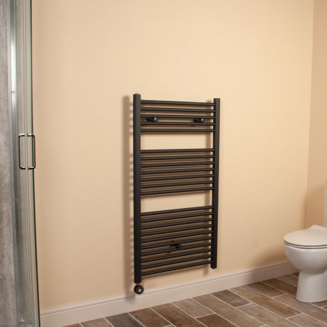 Anthracite Straight Ladder Thermostatic Electric Towel Rail 1100mm high x 600mm wide