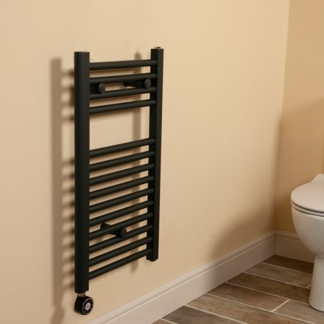 Anthracite Straight Ladder Short & Narrow Thermostatic Electric Towel Rail 700mm high x 400mm wide