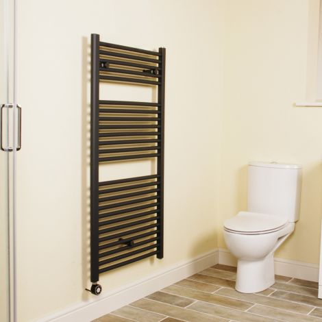 Anthracite Straight Ladder Thermostatic Electric Towel Rail 1200mm high x 600mm wide