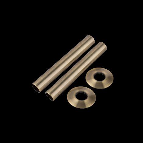 Antique Brass Pipe Sleeve & Collar Floor Tidy Set - 1 x Pair of 130mm