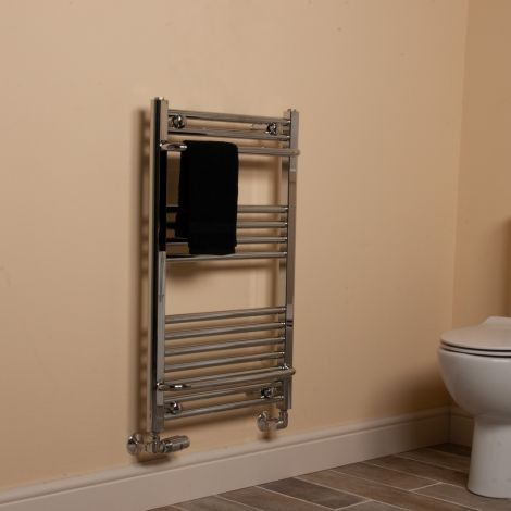 Chrome Area Plus Heated Towel Rail 800mm high x 500mm wide