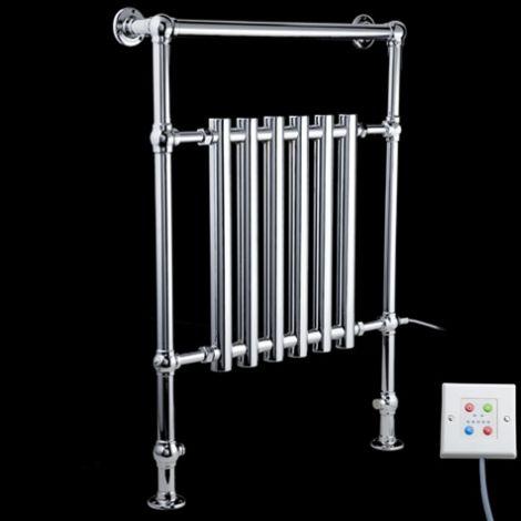EX-DISPLAY Bala Chrome Urban Retro Thermostatic Electric Towel Radiator (Slimline Towel Bar) - 963mm high x 673mm wide