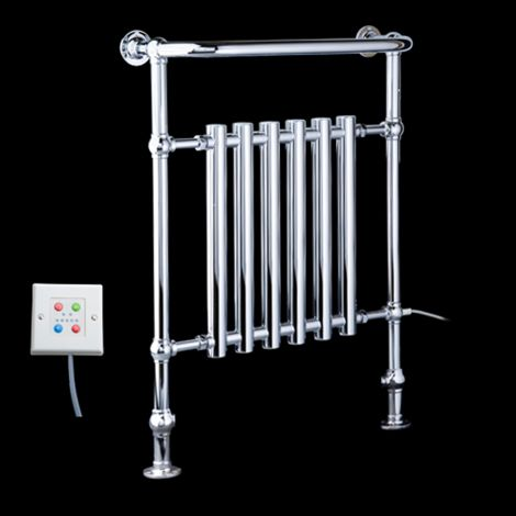 EX-DISPLAY Bala Chrome Urban Retro Thermostatic Electric Towel Radiator (Projected Towel Bar) - 963mm high x 673mm wide