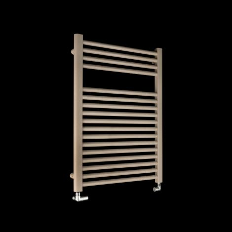 Bisque Deline Beige Quartz Short Heated Towel Rail - 766mm high x 600mm wide