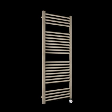 Bisque Deline Beige Quartz Thermostatic Electric Towel Rail - 1226mm high x 500mm wide