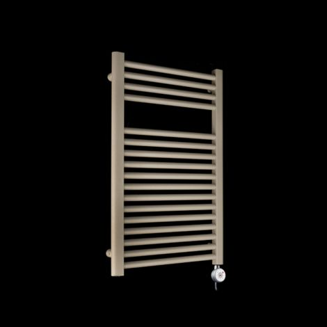 Bisque Deline Beige Quartz Short Thermostatic Electric Towel Rail - 786mm high x 500mm wide