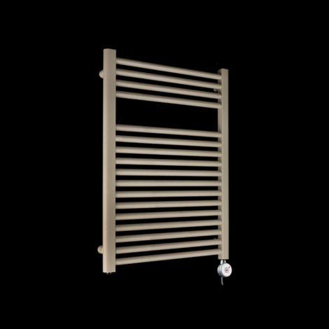 Bisque Deline Beige Quartz Short Thermostatic Electric Towel Rail - 786mm high x 600mm wide