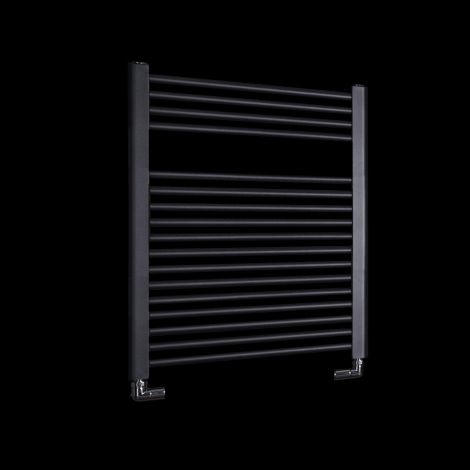 Bisque Deline Volcanic Anthracite Short Heated Towel Rail - 766mm high x 600mm wide