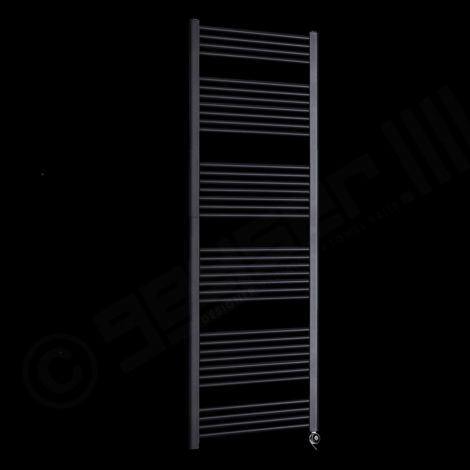 Bisque Deline Volcanic Anthracite Tall & Large Thermostatic Electric Towel Rail - 1866mm high x 600mm wide